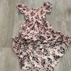 Pink floral smocked romper dress